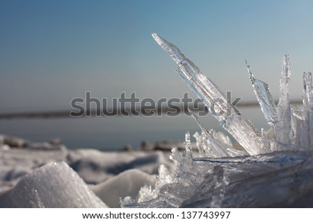 shore with snow and ice at Gulf of Finland, St-Petersburg, Russia - stock photo