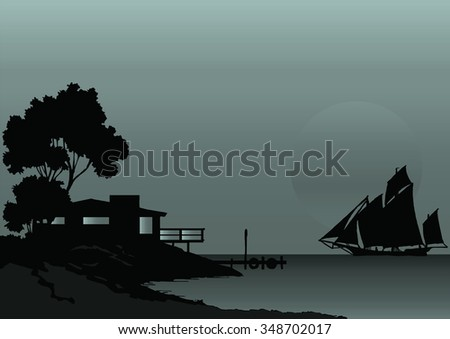 Shoreline house and sailing boat silhouetted against dawn or dusk sky - stock photo