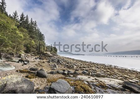Shores of Loch Fyne in Scotland. - stock photo