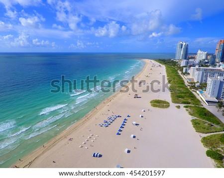 Shores of Miami Beach coastline - stock photo