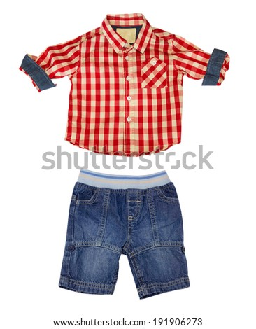 Short and shorts,summer costume isolated on white. Boy clothes collage set. - stock photo