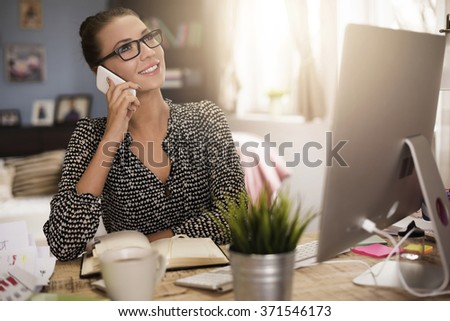 Short break during working in the home office - stock photo