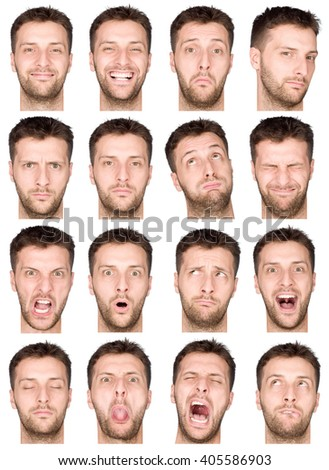 short hair brunette adult caucasian man collection set of face expression like happy, sad, angry, surprise, yawn isolated on white - stock photo