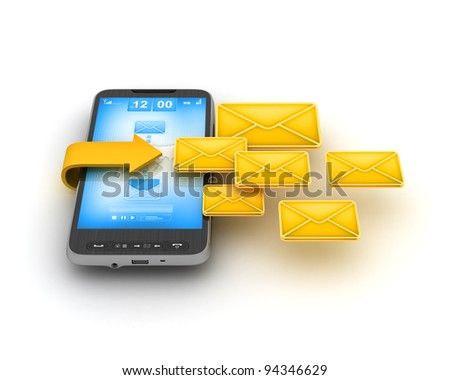 Short Message Service (SMS) - mobile technology - stock photo