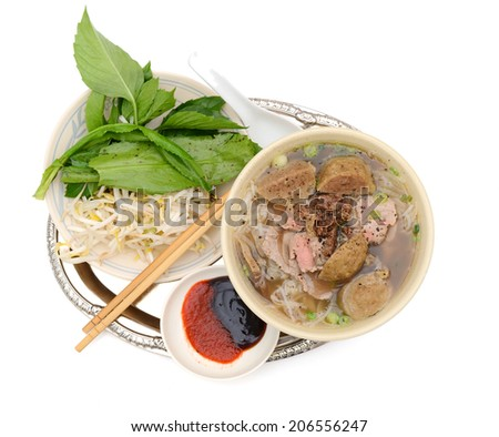 short rib beef pho, a delicous vietnamese meal - stock photo