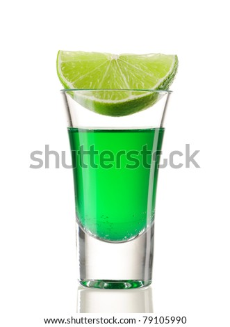 Shot drink cocktail isolated on white - stock photo