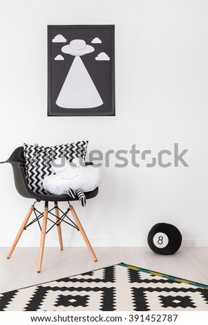 Shot of a black and white room - stock photo