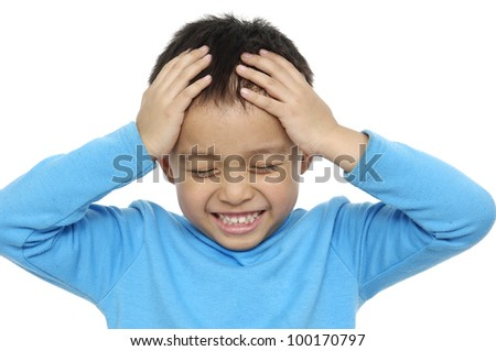 Shot of a Cute Child with a Silly Expression - stock photo