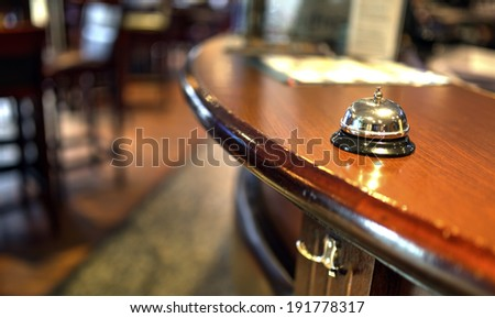 Shot of a Desk Bell in  hotel - stock photo