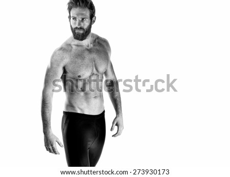 Shot of a Fitness model on white - stock photo