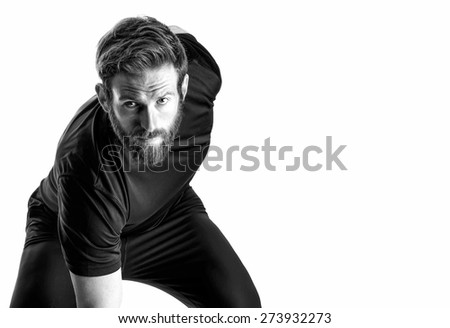 Shot of a fitness model on white background - stock photo