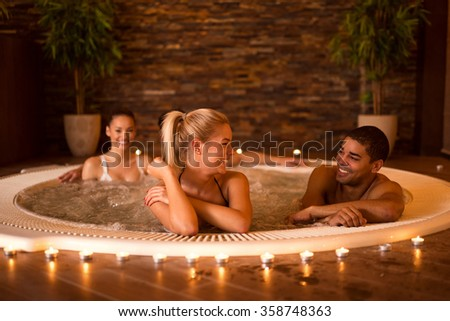 Shot of a friends having some great time at the spa. - stock photo