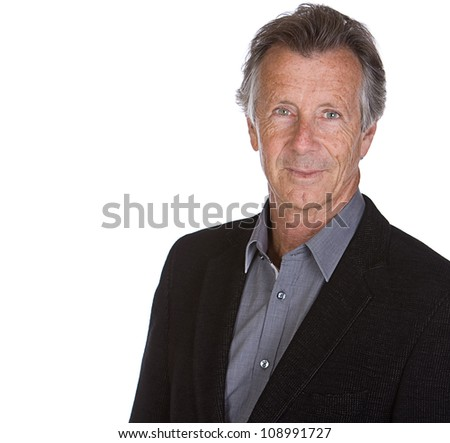 Shot of a Handsome Senior Male against White Background - stock photo