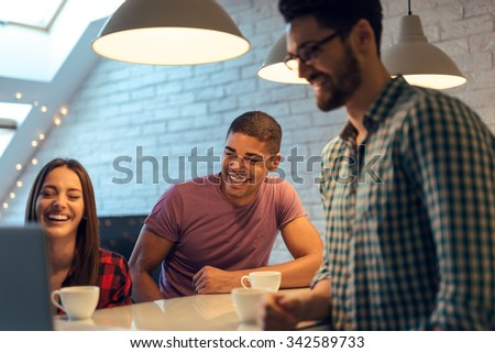 Shot of a happy businesspeople starting small business. - stock photo