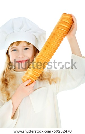 Shot of a little kitchen girl in a white uniform. Isolated over white background. - stock photo