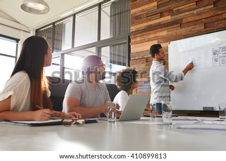 Shot of a male office worker giving creative presentation to his colleagues. Businessman explaining business plan to coworkers in conference room. - stock photo