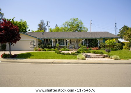 Shot of a northern California Ranch Styled Home - stock photo