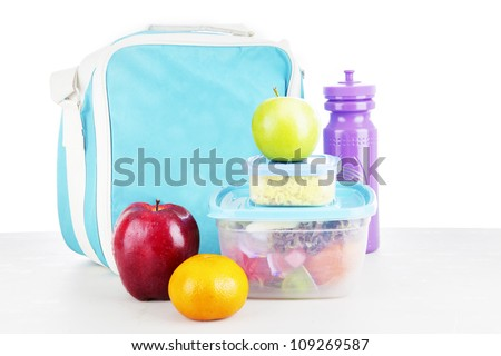 Shot of a packed lunch for child shot in studio - stock photo