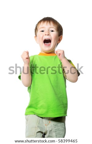 Shot of a shouting little boy. Isolated over white background. - stock photo