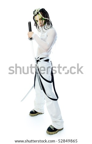 Shot of a stylish male warrior standing with his sword. Isolated over white background. - stock photo