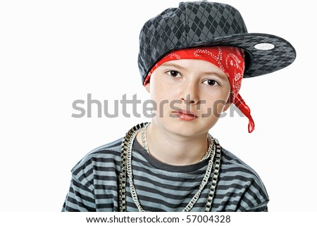 Shot of a trendy teenager posing over white background. - stock photo