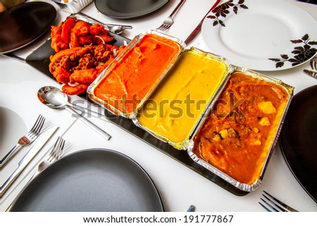 Shot of an Indian takeaway - stock photo