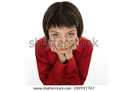shot of businesswoman from above to emphasize her worry and stress - stock photo