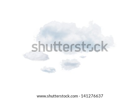 Shot of clouds, isolated on white background - stock photo