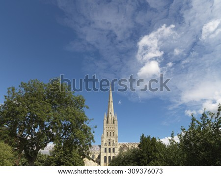shot of english cathedral in summer with areas of sky good for copy  - stock photo