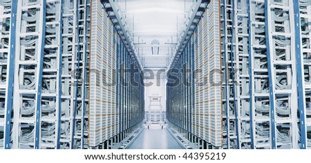 shot of network cables and servers in a technology data center see more in my portfolio - stock photo