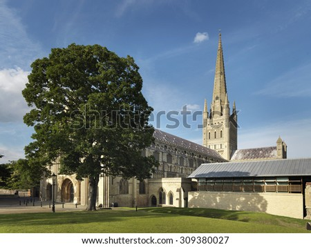 Shot of Norwich cathedral in the English city of Norwich. - stock photo