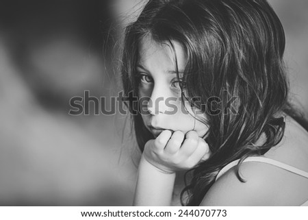 Shot of Sad Child - stock photo