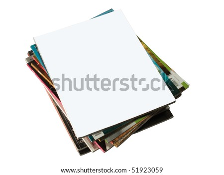 shot of stack of magazines with blank cover - stock photo