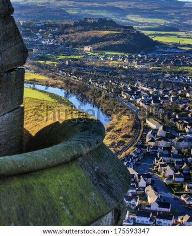 Shot of Stirling from Wallace Monument in Scotland - stock photo
