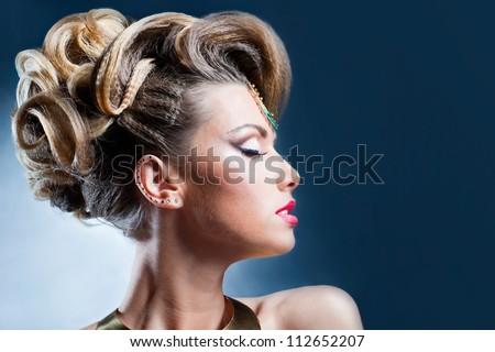 Shot of the beautiful female hairstyles - stock photo