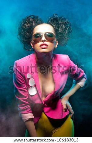 Shot of the disco girl - stock photo