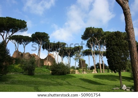 shot of the Palatine Hill ruins in Rome Italy - stock photo