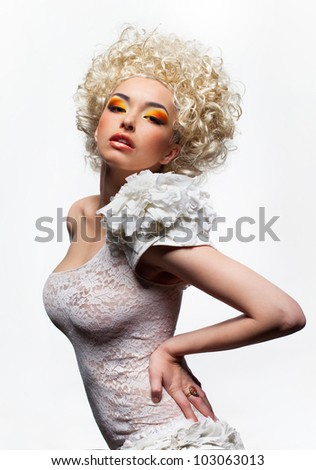 Shot of the young girl on the white background - stock photo