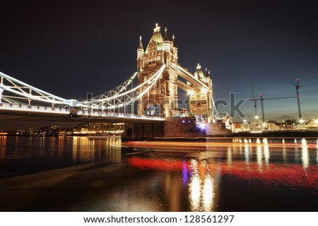 shot of tower bridge at night - stock photo