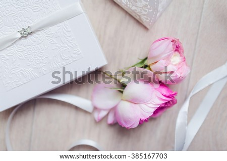 Shot of wedding invitation card. Handmade wedding card - stock photo