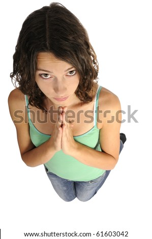 Shot of young woman begging isolated on white background - stock photo