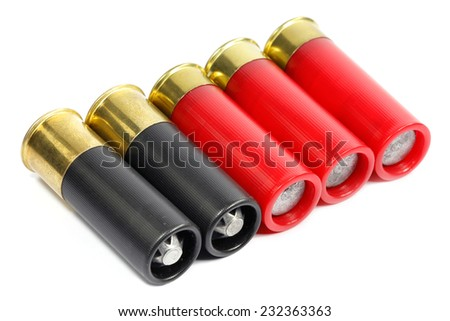 Shotgun ammunition on a white background   - stock photo