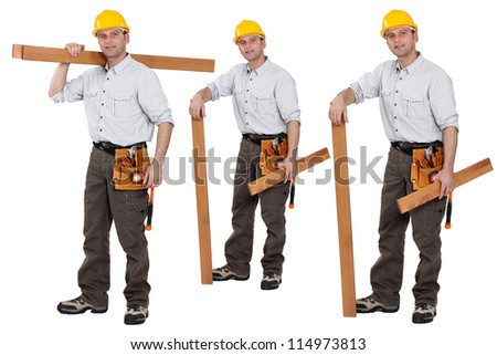 Shots of a carpenter - stock photo