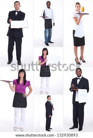 shots of male and female workers in food and catering sector - stock photo