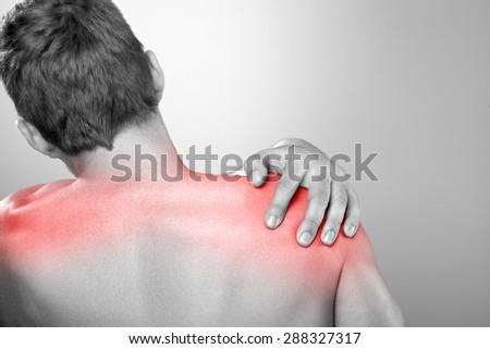 Shoulder pain - stock photo