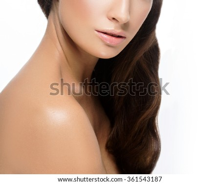 Shoulders Neck Lips Beautiful woman face close up portrait young studio on white - stock photo
