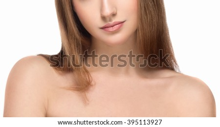 Shoulders neck lips Young beautiful woman face portrait with healthy skin - stock photo