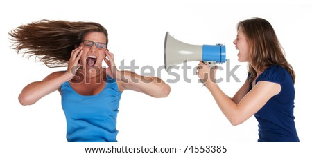 shout out loudly - stock photo