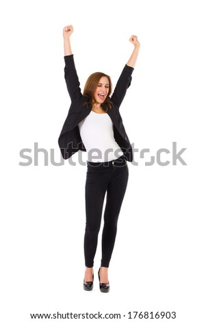 Shouting beautiful young woman with raised hands. Full length studio shot isolated on white. - stock photo