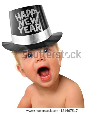 Shouting Happy New Year baby boy. - stock photo